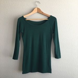 Green 3/4 sleeve cotton top blouse size small